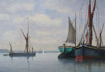Alfred Vavasour Hammond Original Oil Painting Boats On The Colne